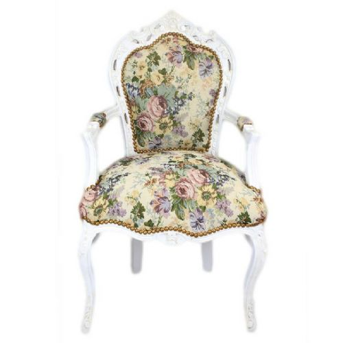 CHAIRS FRANCE BAROQUE STYLE DINING ROYAL CHAIR WITH ARMRESTS WHITE/FLORAL #70F31